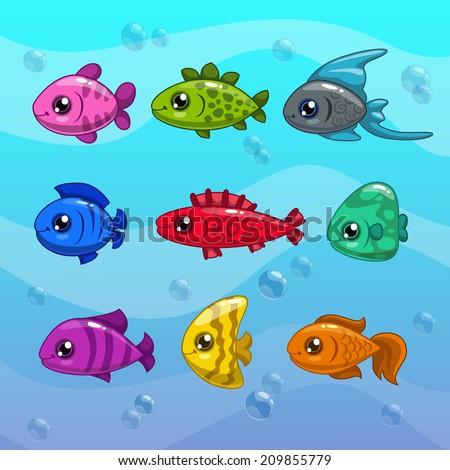 Set of cute cartoon vector fishes - stock vector