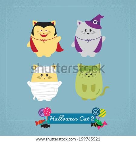 Set of cute cat in Halloween costumes - stock vector