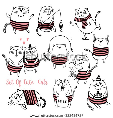 Set of Cute cats vector background. - stock vector