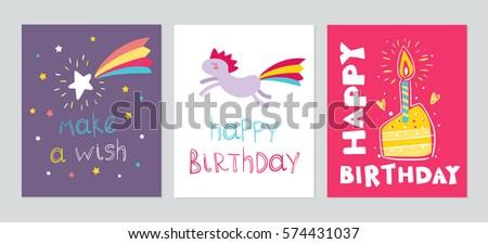 Set cute childish birthday cards rainbow stock vector 574431037 set of cute childish birthday cards with rainbow pony falling star piece pf cake bookmarktalkfo Choice Image