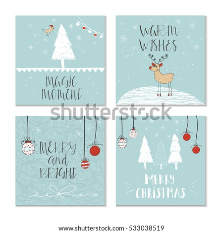 Set Of 4 Cute Christmas Cards With Quote. It Is Perfect For Winter Holiday  Invitations