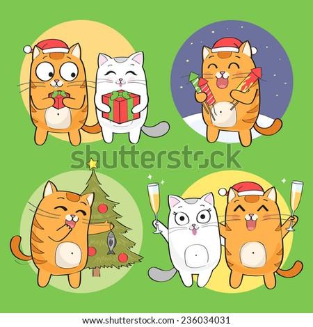 Set of cute Christmas cat characters - stock vector