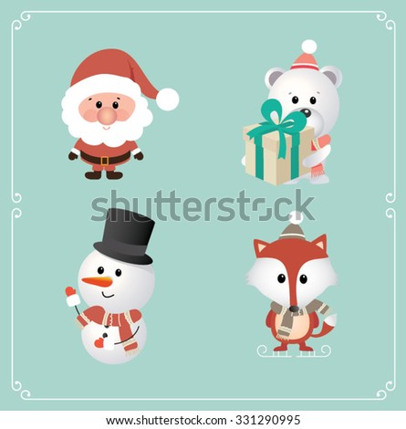 Set of cute Christmas character. Santa Claus, Bear, Snowman, Fox. Vector illustration - stock vector