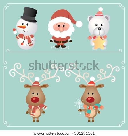 Set of cute Christmas character. Snowman, Santa Claus, Bear, Reindeer. Vector illustration - stock vector