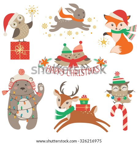 Set of cute Christmas design elements with woodland animals - stock vector