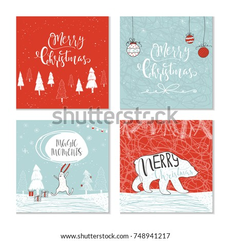Set 4 cute christmas gift cards stock vector 748941217 shutterstock set of 4 cute christmas gift cards with animals lettering quote merry christmas hand negle Images