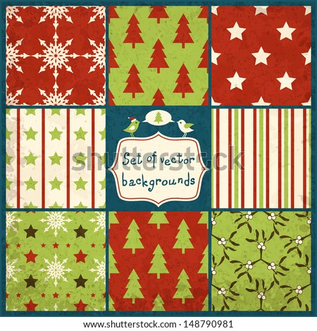set of cute christmas seamless vector backgrounds with hearts, eps10 - stock vector