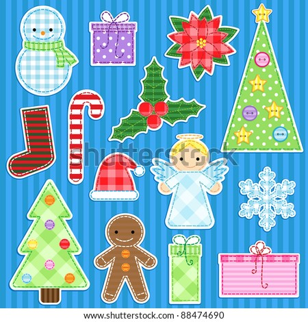Set of cute christmas stickers - stock vector