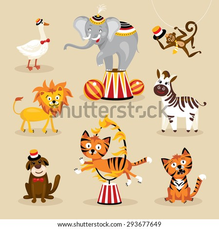 Set of cute circus animals vector illustration - stock vector
