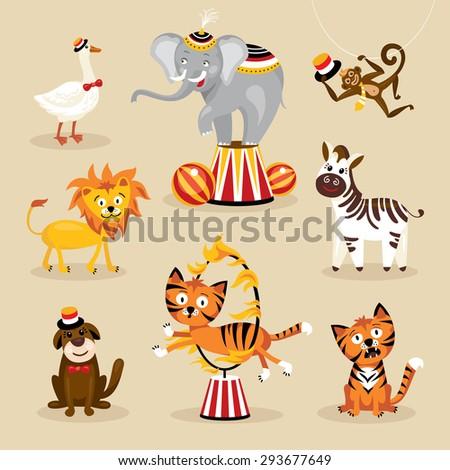 Set of cute circus animals vector illustration - stock vector