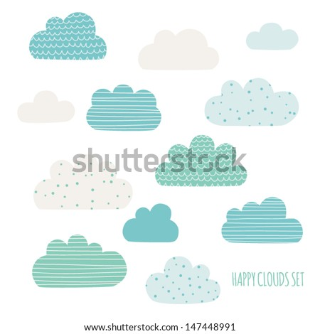 Set of cute clouds. Design for kids. Vector illustration - stock vector