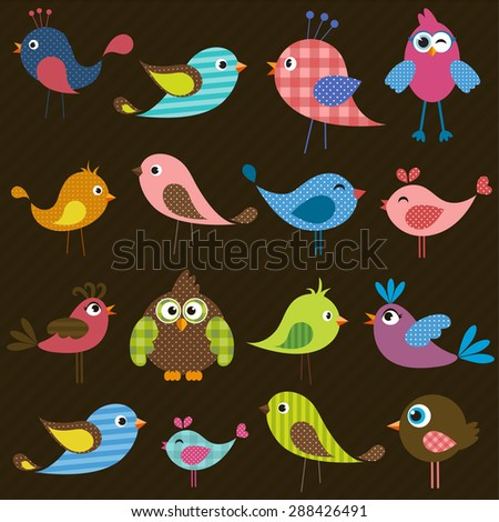 set of cute colorful birds - stock vector