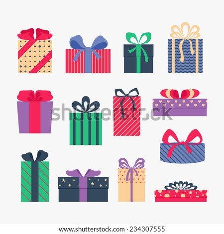 Set of cute colorful gift boxes, isolated on gray background. Postcard, greeting card. Christmas gifts, sale. Vector illustration.  - stock vector