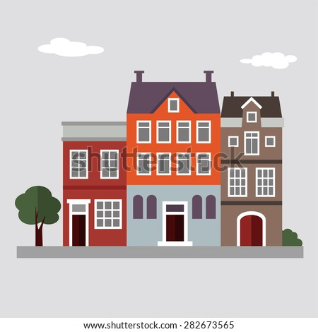 Set of cute colorful houses, summer urban landscape, flat design, vector illustration background - stock vector