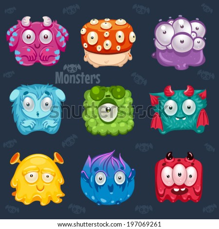 Set of cute colorful monsters. - stock vector