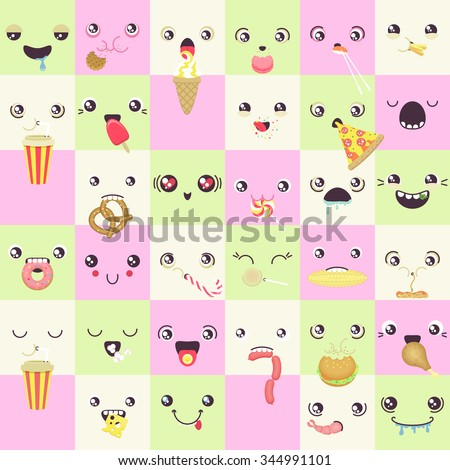 set of cute colorful  vector faces eating snacks - stock vector