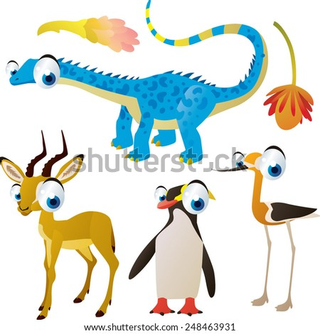 set of cute comic animals: dinosaur, impala, penguin, avocet - stock vector