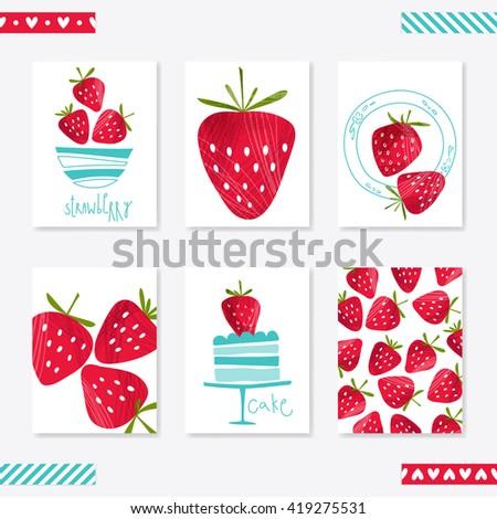 set cute creative card templates strawberry stock vector royalty