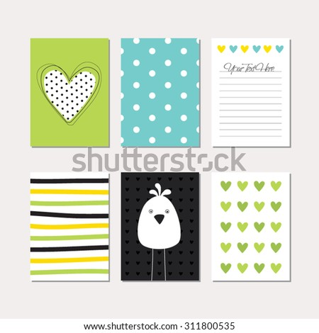 Set of cute creative cards with bird theme design. Vector templates for journaling / scrapbooking / greeting / gift cards, patterns, art decoration etc.