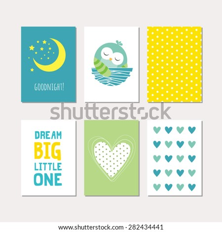 Set of cute creative cards with sleeping baby owl design. Vector design templates for greeting / gift cards, flyers, posters, banners, patterns, art decoration etc. - stock vector