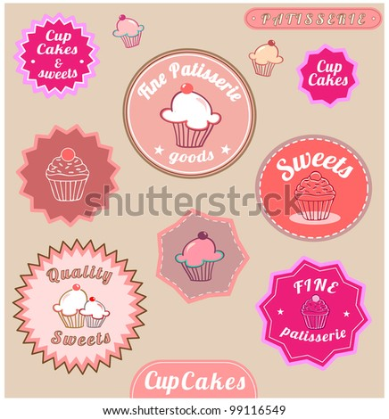 Set Of Cute Cup Cake Badges - stock vector