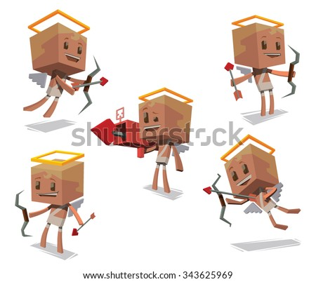 Set of Cute cupids in white clothes with white wings behind holding bows and arrows, One cupids holding a bazooka shoots a heart. They prepare to Valentines day, did in cube style.  vector - stock vector