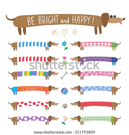 Set of cute dachshunds dogs in bright multicolored clothing - stock vector