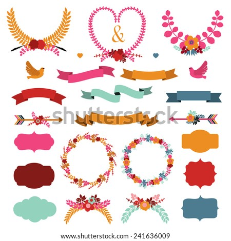 Set of cute decorative elements. - stock vector