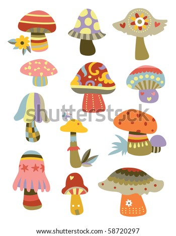 Set of cute, decorative mushrooms with various shapes. - stock vector