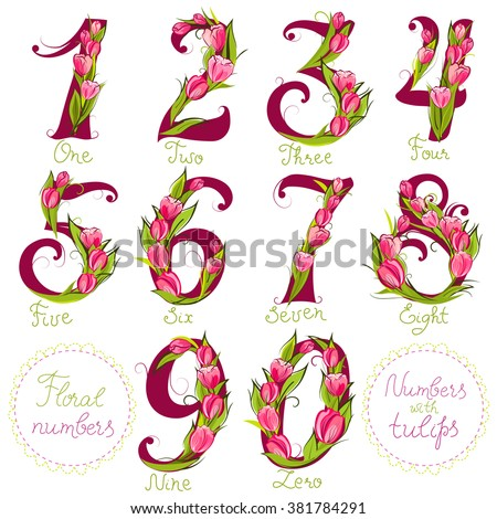Set of cute decorative numbers, made with tulips, vector illustration - stock vector