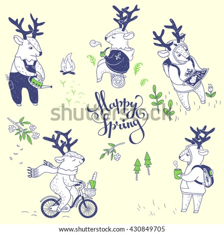 set of cute deers outdoor. vector hand drawn illustrations with cute spring characters. deer on a bicycle, deer in forest and a deer growing plants - stock vector
