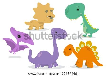 set of cute dinosaurs - stock vector