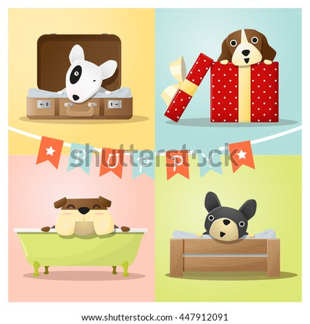 Set of cute dog background , vector , illustration