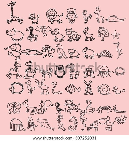Set of cute doodle cartoon animals - stock vector