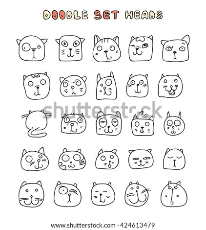 Set of cute doodle cats.  Funny kids doodle animals. Those cat with different emotions, smiles, laughter and sadness, - stock vector