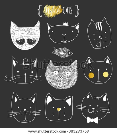Set of cute doodle cats . Sketch cat . Cat Sketch . Cat handmade . Print T-shirts for the cat . Print for clothes . Kids Doodle animals . Stylish muzzle cats . Isolated cat. Characters cat - stock vector
