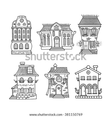 Set of cute doodle houses. Elegant sketches. Elements for coloring. - stock vector