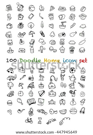 Set of 100 Cute Doodle icons Universal Set,Animal ,sport , Drink, Food ,Music ,school ,home ,Hand drawing line icons. - stock vector