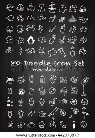 Set of 80 Cute Doodle icons Universal Set sketch sign illustration on chalk board.,Animal icons , Sport icons , Drink icons , Food icons ,Music icons ,Hand drawing line icons. - stock vector