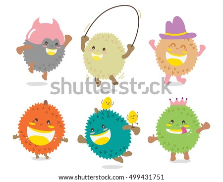 Set of Cute Durian Vector / Mascot Vector Design