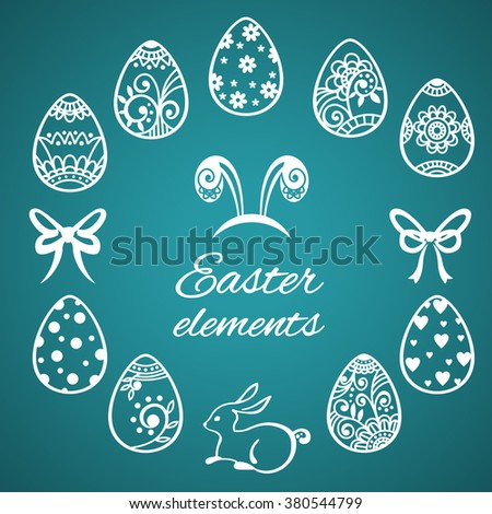 Set of cute Easter elements. Happy Easter. Easter eggs. Easter card. Vector illustration - stock vector