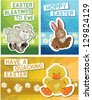Set of 3 Cute Easter Greeting Cards. Simply print off and cut out to make your own unique fun cards this Easter. - stock vector