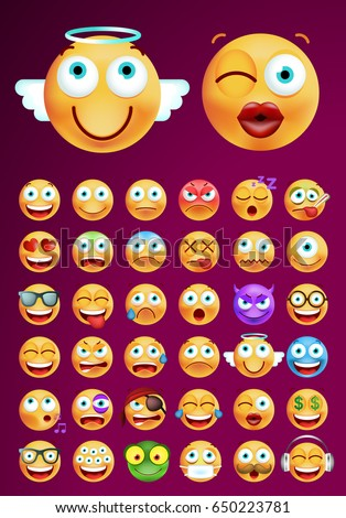 Set of Cute Emoticons on Dark Background. Isolated Vector Illustration