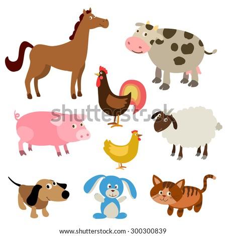 set of cute farm animals - stock vector
