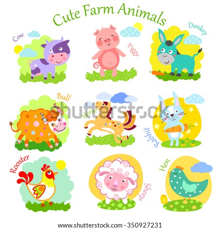 Set of cute farm animals: rabbit, sheep, donkey, cow, horse, bull, yak, buffalo, pig, piggy, chicken, rooster