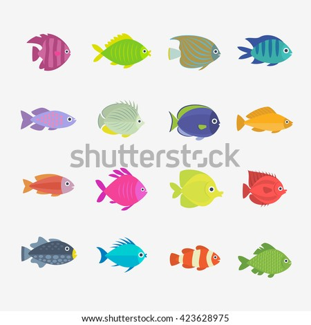 Set of cute fish. Vector illustration.
