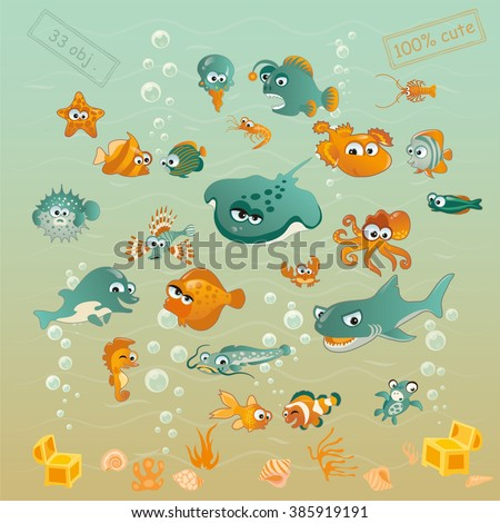 Set of cute fishes and sea stuff. Cartoon style. 33 stylish objects. - stock vector