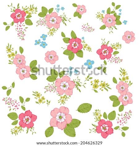 Set of cute floral bouquets, shabby chic style, roses, isolated - stock vector