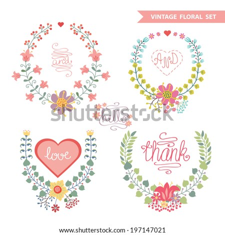 Set of cute floral fashion composition in retro style.Vintage Vector floral wreath  with high heel shoes .Design template for label.Vector illustration - stock vector