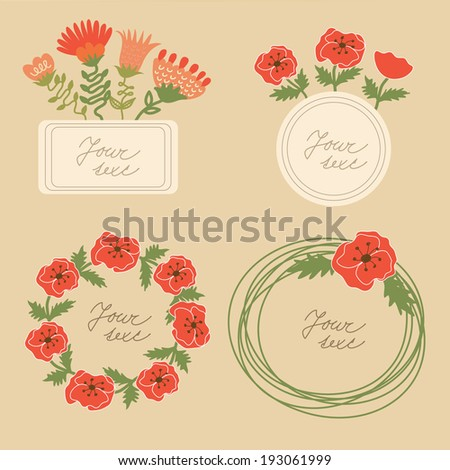Set of 4 cute floral frames - stock vector